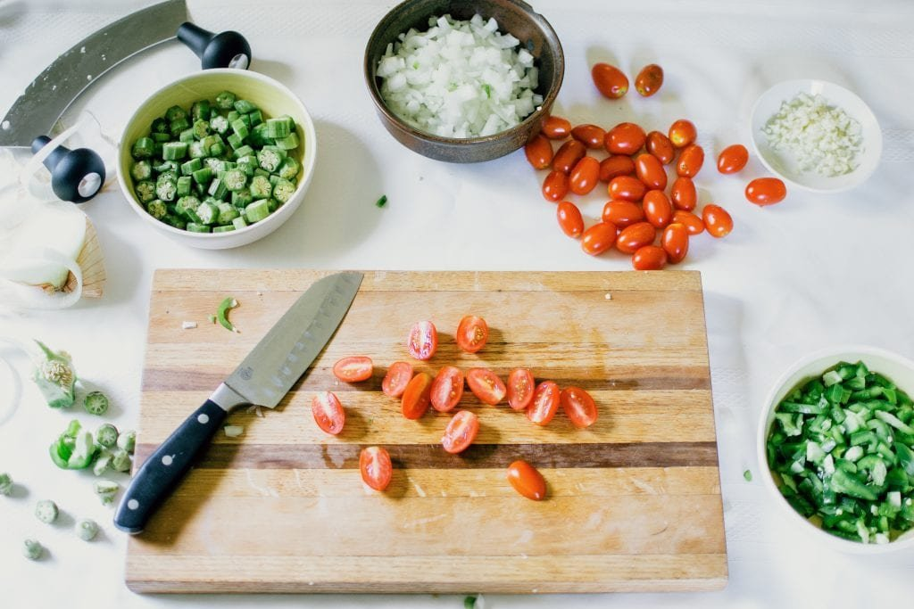 Succotash ingredients being prepped.
